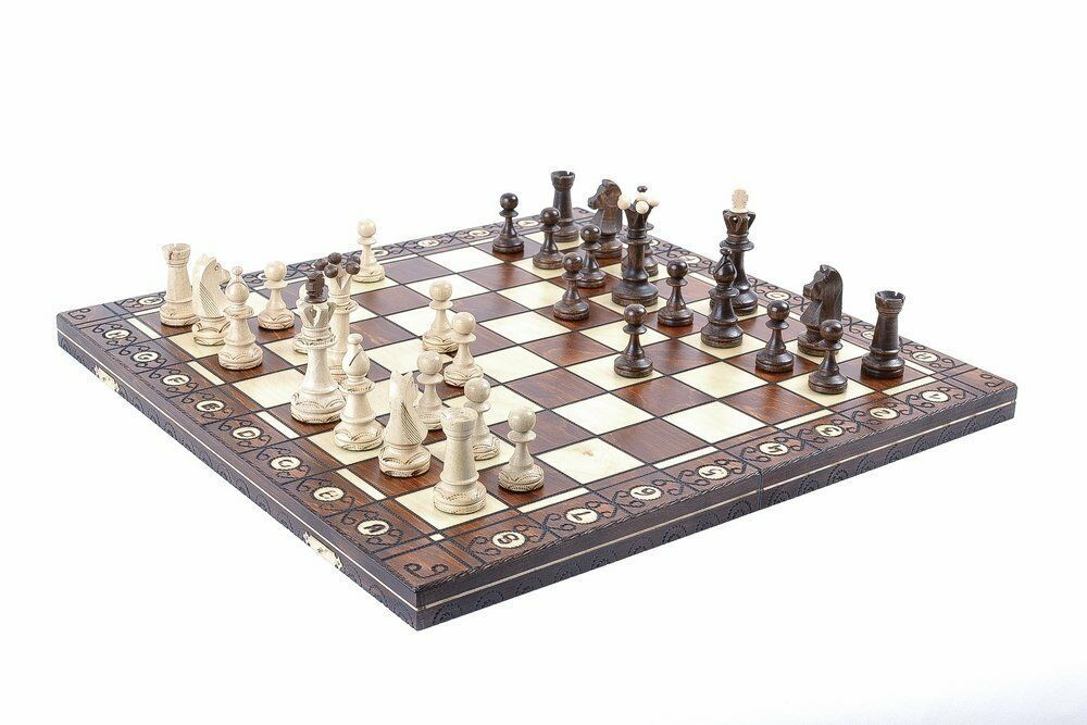 HANDCRAFTED CONSUL WOODEN CHESS SET - PIECES & FOLDING BOARD - 3 1 2  KING
