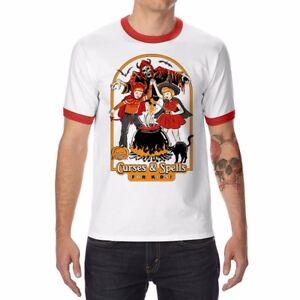 Curses-Spells-Pumpkin-Funny-Men-039-s-Ringer-T-shirt-Cotton-Halloween-Short-Sleeve