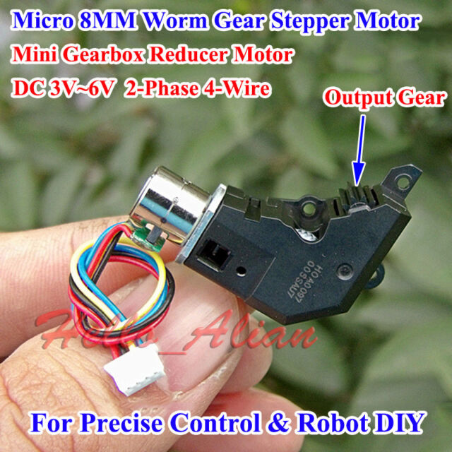 DC 3V~5V 2-Phase 4-Wire Micro Worm Gear Stepper Motor Mini Gearbox Reducer Motor