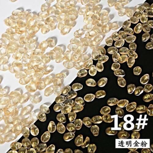 50pcs 6x8mm Crystal Glass Charms Pendants Loose Petal Beads Jewelry Making DIY