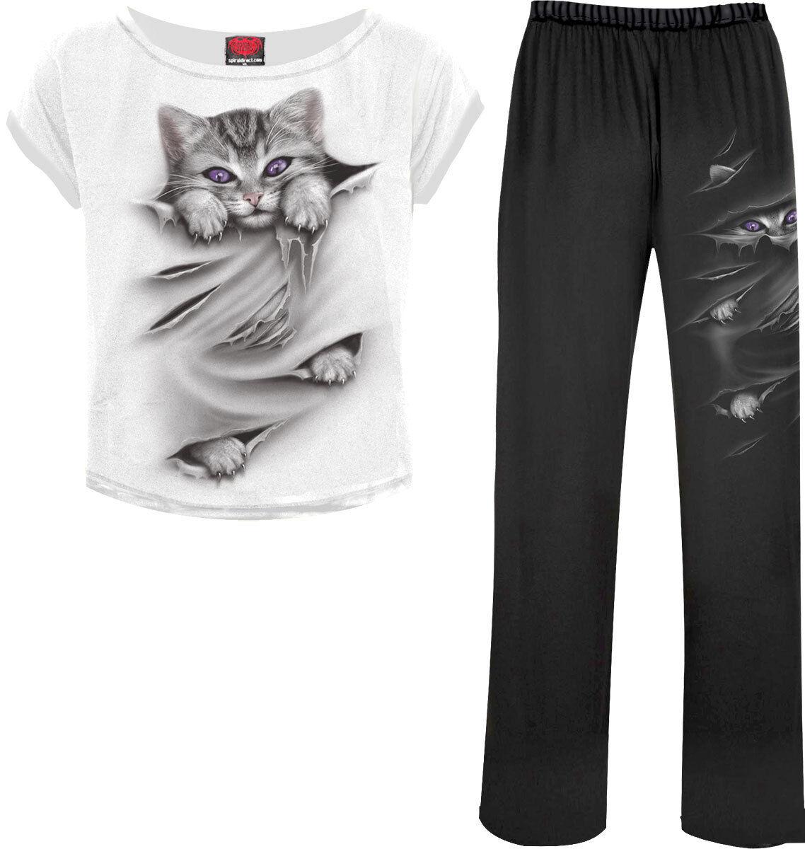 Spiral Direct BRIGHT EYES Women's 4 Piece Pajamas Set  Cat  Cute  Rips