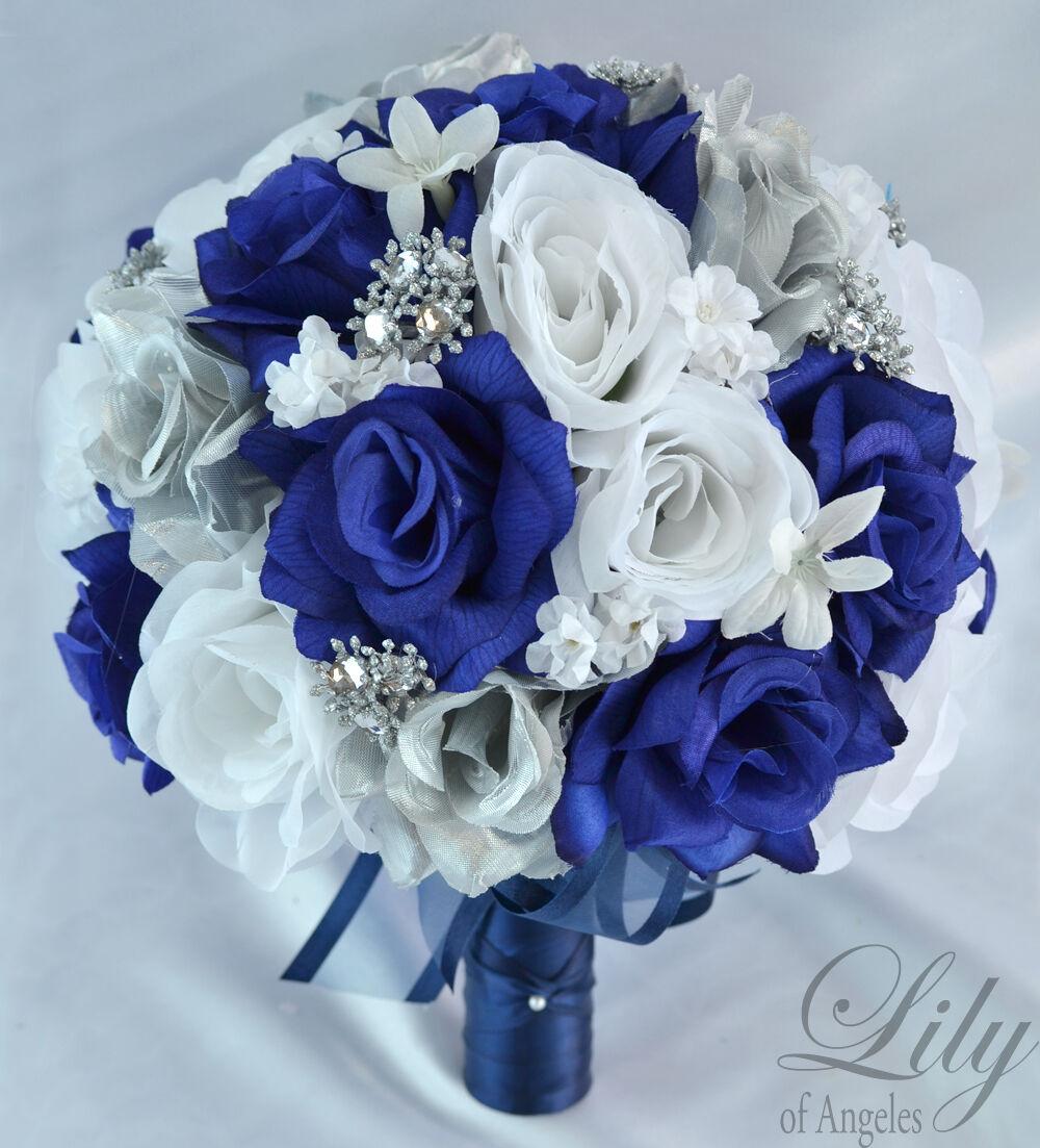 17 Pièce Paquet Soie Fleur Mariage Bridal Bouquet de Fête Bleu Marine Argent Blanc