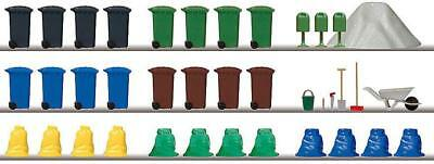 BNIB OO HO Auhagen 41649 RUBBISH WHEELIE BINS WITH ACCESSORIES /& STREET BINS