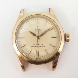 Vintage-57-Tudor-Oyster-Small-Rose-21J-Manual-29mm-Pink-Gold-Watch-7902-NO-RES