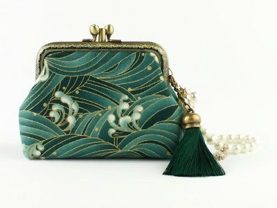 """Handmade /""""Waves/"""" Japanese Sakura Diamonte Coin Purse Wallet Collectable #0154"""