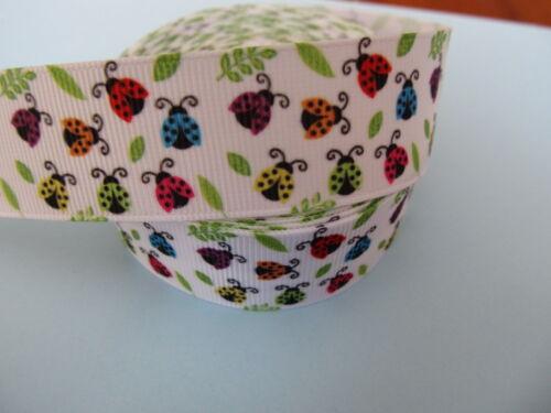 "Grosgrain Colourful Lady Bird Bug Pattern Printed Ribbon 1/"" 25 mm"