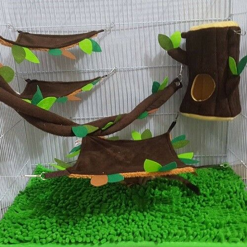 Hot Sale 5 Pcs Sugar Glider Cage Set Hanging Log Dark Brown Forest Pattern.
