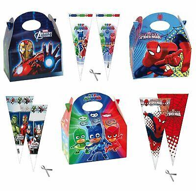 PJ máscaras Spiderman Marvel Los Vengadores Montar Fiesta Comida Cajas Y Dulce conos Chicos