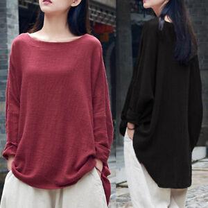 c6d69b8b UK STOCK Womens Long Sleeve Asymmetric Tunic Tops Loose Baggy Shirt ...