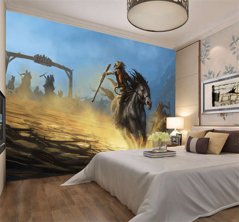 Western Cowboy Battle Full Wall Mural Photo Wallpaper Printing Kid Home 3D Decal
