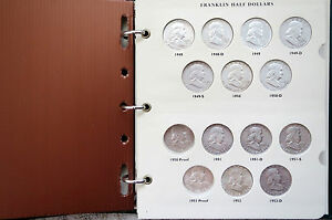 1948-1963S-FRANKLIN-SILVER-HALF-DOLLARS-ALBUM-COLLECTION-w-S-PROOFS-ISSUES