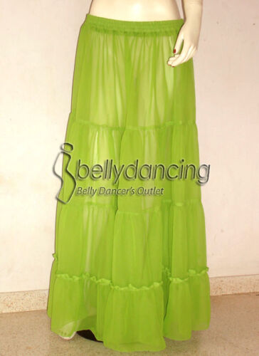 Belly Dance Dark Green 4 Tiered Gypsy Skirt Costume Tribal Jupe Flamenco 25Color