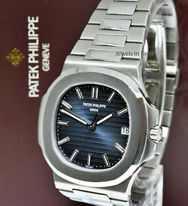 11a0c2705ae Image is loading Patek-Philippe-Nautilus-Stainless-Steel-Blue-Dial-Watch-