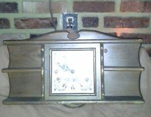 Vintage New England Clock Company Kitchen Clock With Wooden Shelf Ebay