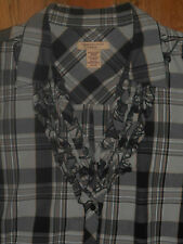 Covington Shirt 20-22W Womens 2X Top Black White Plaid Blouse Long Sleeves 5p60