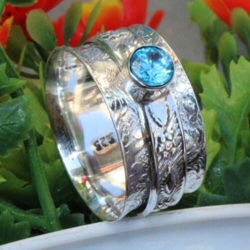 925 Sterling Silver band/& Blue Topaz Spinner Meditation Ring All Size h-192