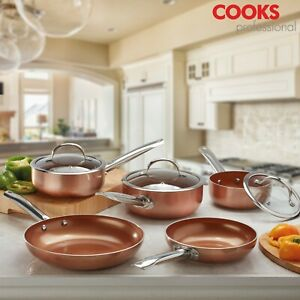 Cooks-Professional-Cookware-Set-Saucepan-Frying-Pan-Wok-Copper-Ceramic-Induction