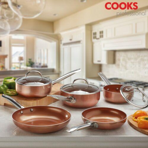 Cooks Professional Cookware Set Saucepan Frying Pan Wok Copper Ceramic Induction