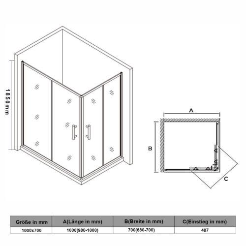 Duschkabine Eckeinstieg Schiebetür Duschabtrennung Echtglas Duschwand 70-120cm