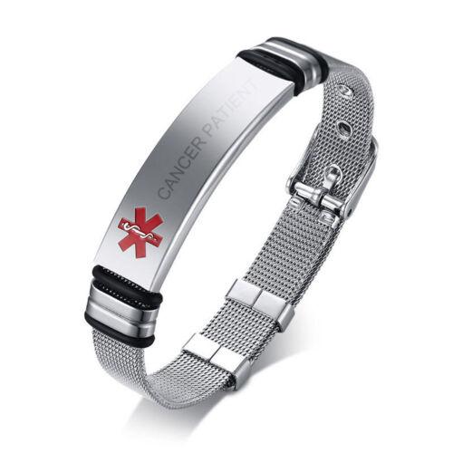 Medical Alert ID Free Engraving Metal Bracelet Stainless Steel SOS Tool Nice