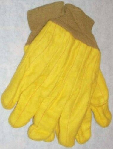 12pr Yellow Chore Gloves Dozen Work Gloves Large New