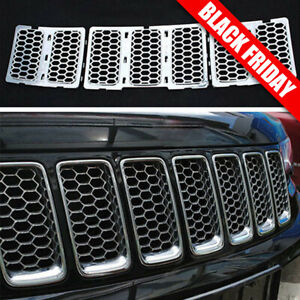 For Jeep Cherokee 2014 2015 2016 2017 2018 Chrome Front Bumper Mesh Grill 3pcs