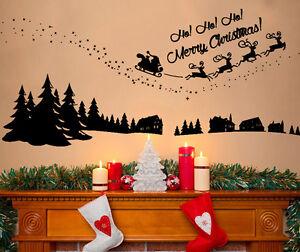 ... Christmas-Santa-Sleigh-Ho-Snow-Scene-Decoration-Wall-Art-Decal-Sticker