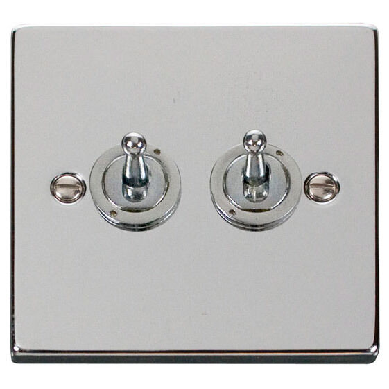 click deco 2 gang double toggle light switch in polished chrome