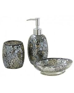 Image Is Loading Black And Gold Sparkle Mosaic Glass Bathroom Set