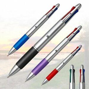 2-x-Vierfarbkugelschreiber-in-4-Farben-schreibend-rot-schwarz-blau-und-gruen