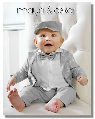 Baby Boy Outfit Smart Set Grey Cardigan Wedding Suit Christening Baptism