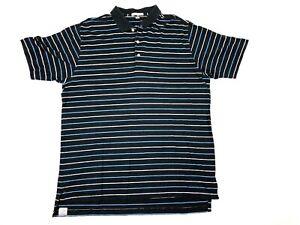 Peter-Millar-Mens-XL-Polo-Golf-Shirt-Short-Sleeve-Cotton-Black-Blue-Striped