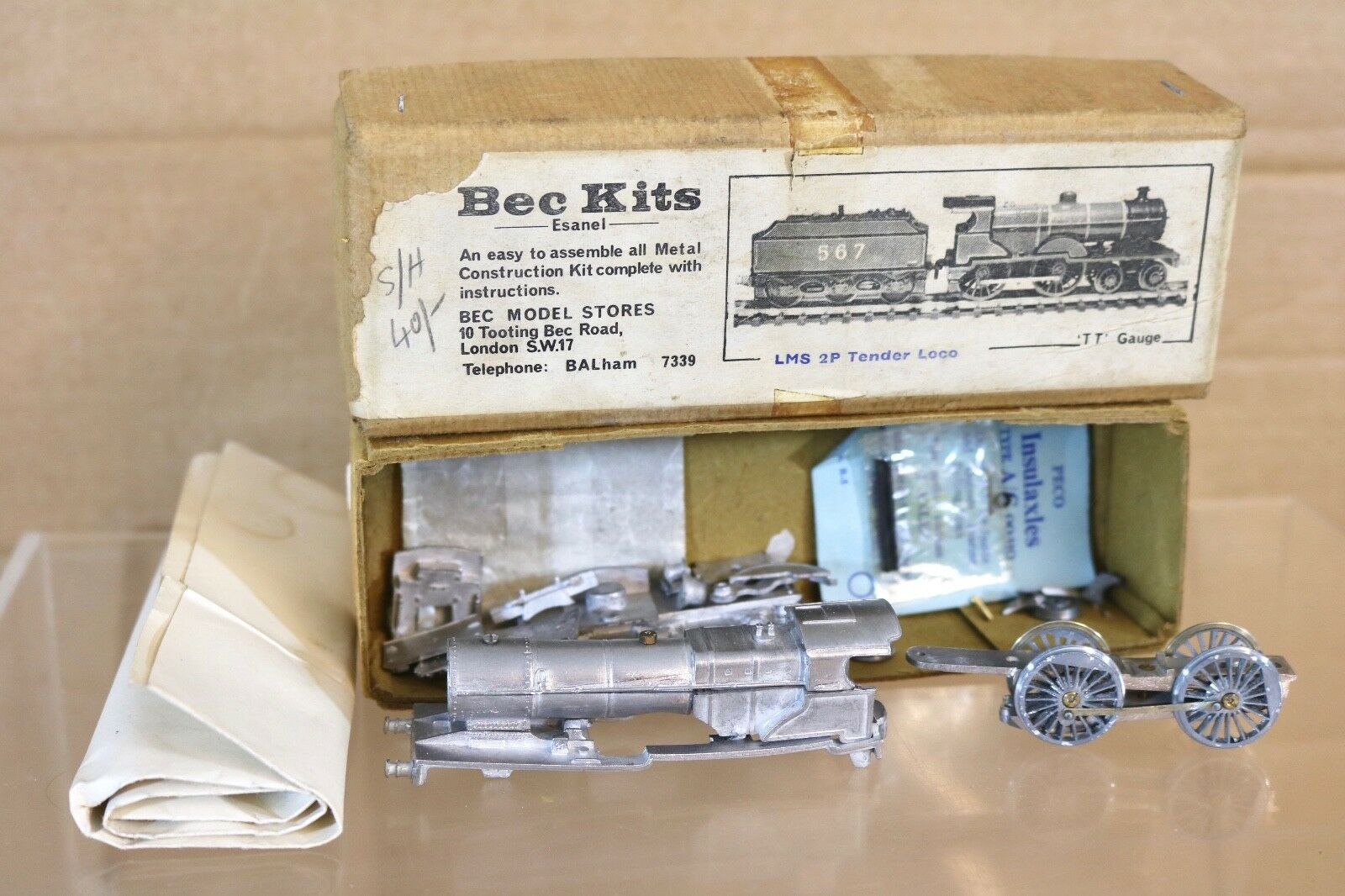 BEC KITS TT GAUGE KIT BUILT LMS 4-4-0 CLASS 2P LOCOMOTIVE & TENDER PART BUILT