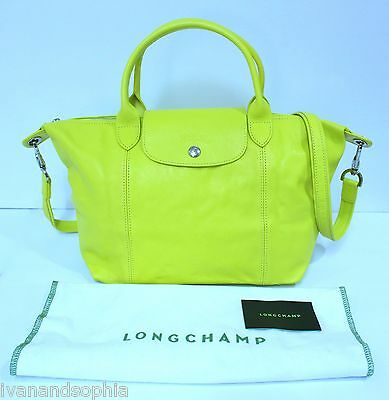 Longchamp * Modele Depose Le Pliage Cuir Small Lime Yellow Leather Ivanandsophia