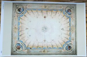 Dollhouse Ceiling Mural Wallpaper Fruit Victorian Painted Style  1:12 Scale
