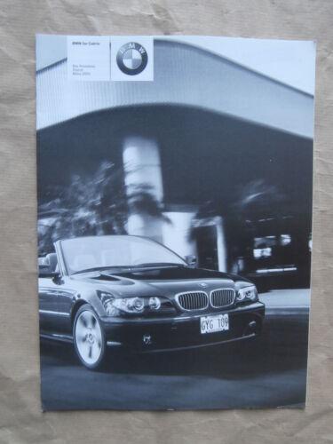 BMW 318ci 320ci 325ci 330ci E46 Cabrio Preisliste 3//2004  Brochure Catalogue