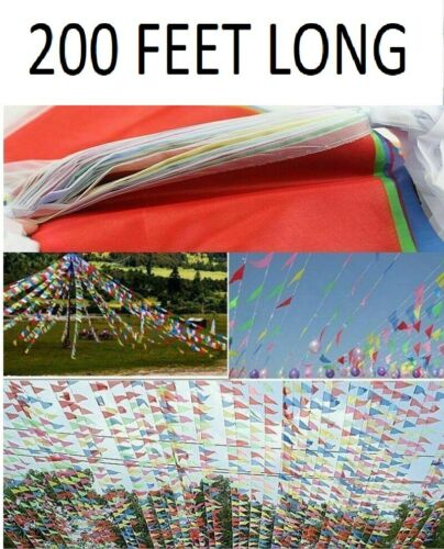 200 Feet Long Multicoloured Bunting Flags 10m Banner Party Rainbow Celebration