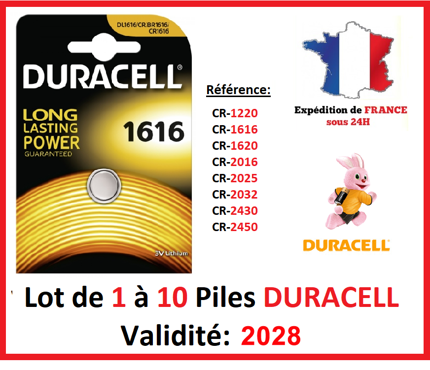 Battery CR-1616 Duracell/Other Model: CR-1220-1620-2016-2025-2032-2430-2450