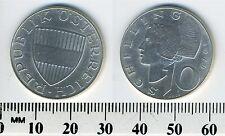 Austria 1970 - 10 Schilling Silver Coin - Austrian shield - Woman of Wachau - #4