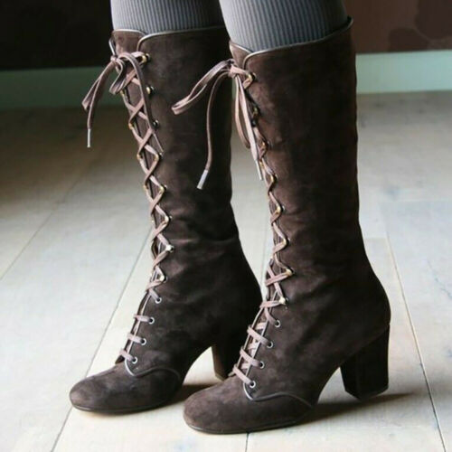 Womens Ladies Casual Vintage Retro Mid-Calf Boots Lace Up Thick Heels Shoes Size
