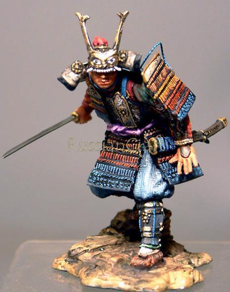 Tin Soldier, bästa kvalitet, japansk krigare, samurai med Katana {65533;  Handjur av rostfritt stål; 13, 54 mm