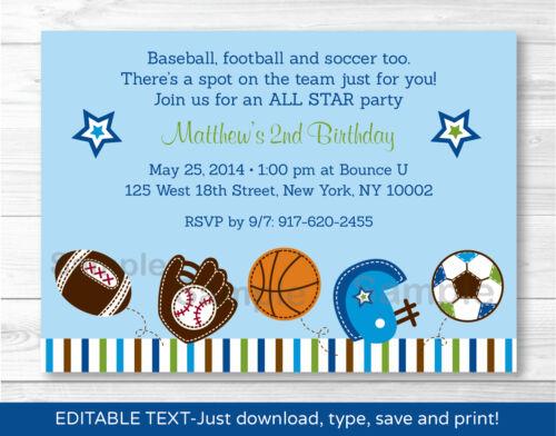 Sports Football Baseball Soccer Printable Birthday Invitation Editable PDF