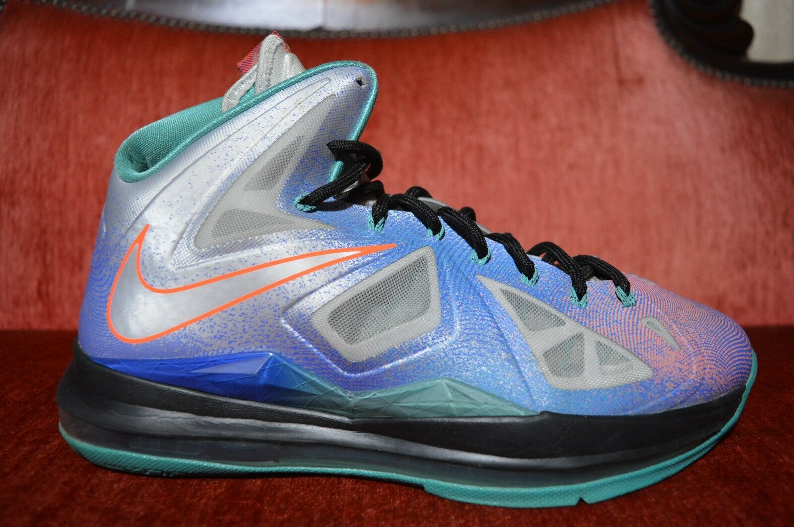 Nike LeBron X 10 Re-Entry Pure 008 Platinum Size 9.5 541100 008 Pure Grey Blue Green 368f55