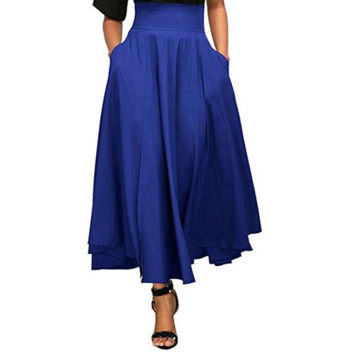 Women High Waist Long Skirt Dress Pleated A Line Slit Belted Maxi Skirt Lot US