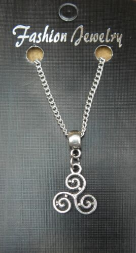 """18/"""" or 24/"""" Inch Chain Necklace /& Celtic Triskelion Knot Pendant Charm Gift"""