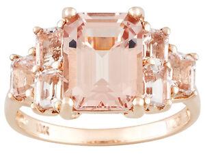 4ctw-Emerald-Cut-Pink-Peach-Morganite-Cluster-10K-Pink-Gold-Ring