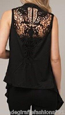 Lace Crochet Eyelet AppliqueTie Front Cover-Up Tunic Cami Tank Vest Top