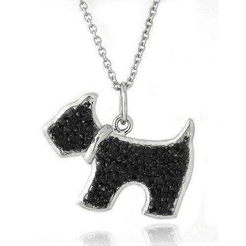 "Black Diamond Accent Dog Necklace, 18"""