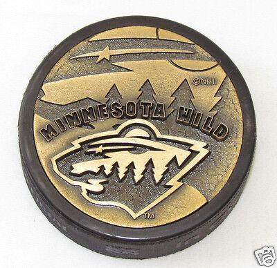 MINNESOTA WILD 2000-2001 3D METAL BRONZE PUCK Rare! 3-D Team Logo