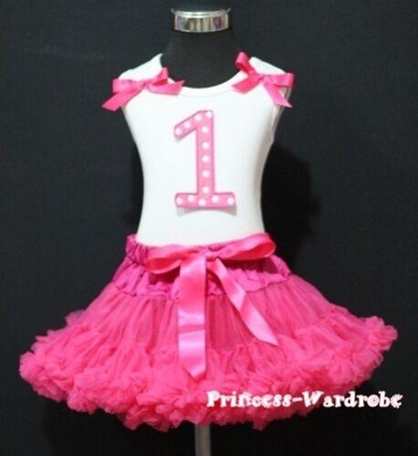 Hot Pink Pettiskirt Polka Dot 1st Birthday Baby Top Set